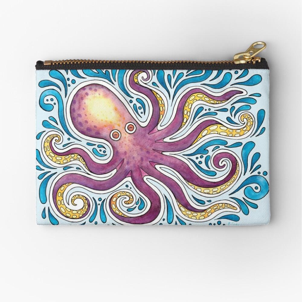 Purple Octopus Zipper Pouch