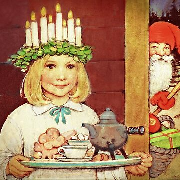 Lucia Karin and Nisse  Little Girl and Christmas Elf by dianegaddis