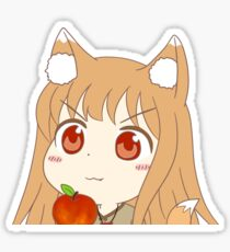 Peeking Chibi Holo Apple - Spice and Wolf Sticker