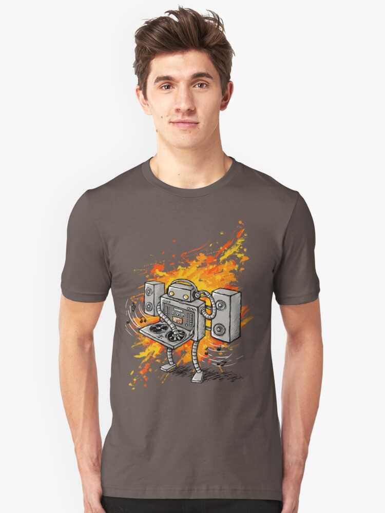 Robot DJ is in the House! Unisex T-Shirt Front