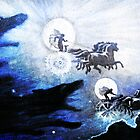 The SAGAS The Wolves Pursuing Sol and Mani Medieval engraving blue dragon dogs and horses Norse Viking Mythology HD High Quality by iresist