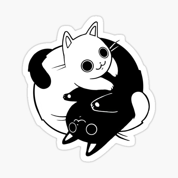 When Opposite Kitties Attract Sticker