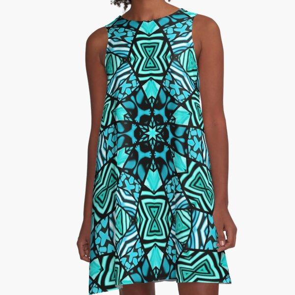 Beautiful Teal Aqua Turquoise Blue Orient Ethnic Art Mosaic A-Line Dress