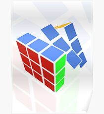 Rubics cube - white background Poster