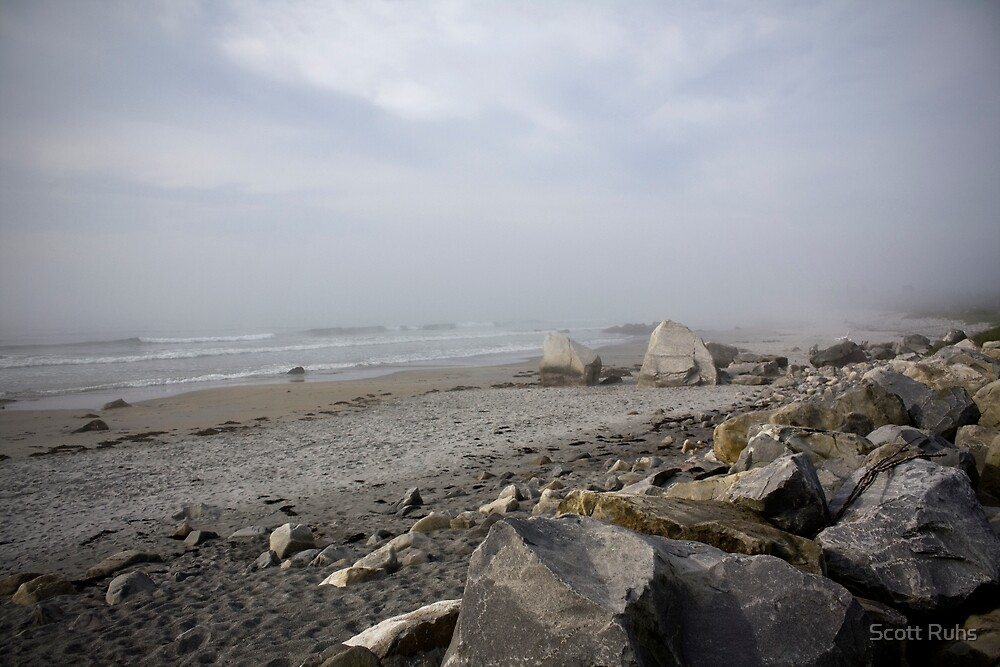 Ocean, Sand, and Fog by Scott Ruhs