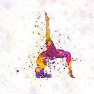 Yoga woman 03 in watercolor splatter by paulrommer