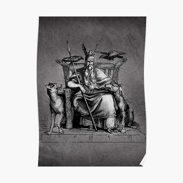 Odin on throne with Huginn and Muninn crows ravens Medieval Vintage Viking Sagas Norse Mythology Asgard Realm engraving on dark gray charcoal marble background HD HIGH QUALITY Poster