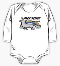 Awesome Since The Day I Was Born Unicorn Illustration and Quote One Piece - Long Sleeve