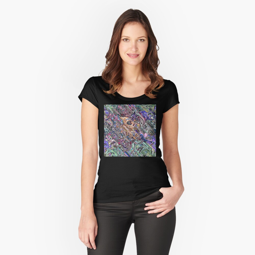 Abstract Melted Colors Fitted Scoop T-Shirt