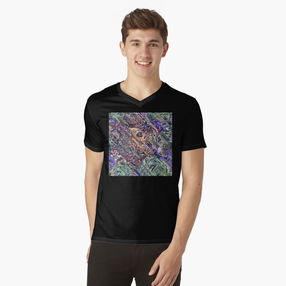Abstract Melted Colors V-Neck T-Shirt