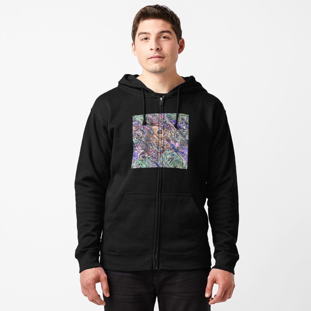 Abstract Melted Colors Zipped Hoodie