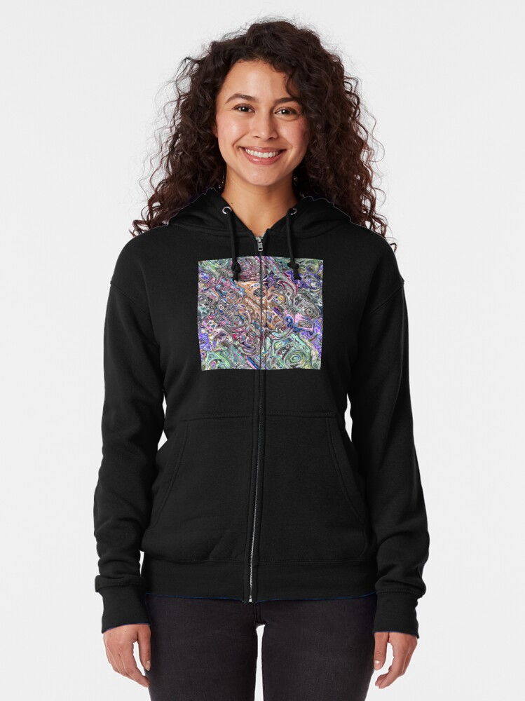 Alternate view of Abstract Melted Colors Zipped Hoodie
