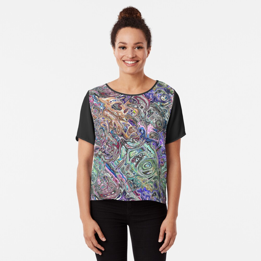 Abstract Melted Colors Chiffon Top