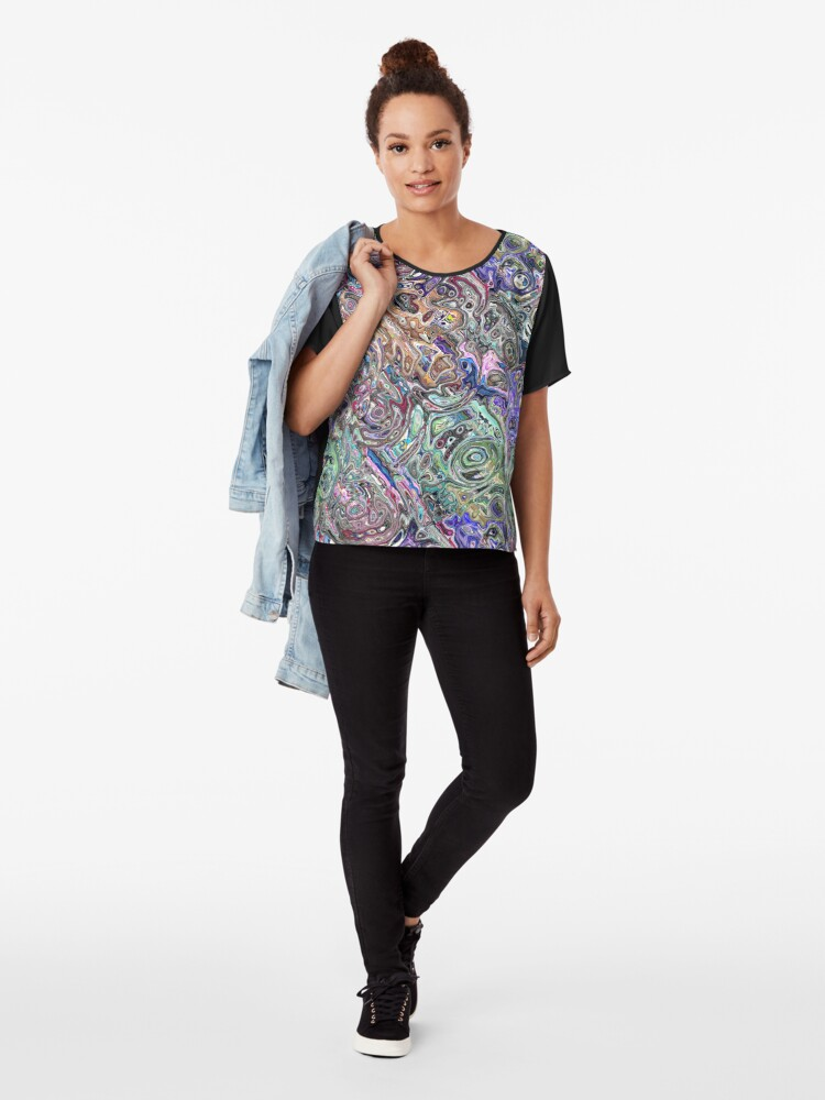 Alternate view of Abstract Melted Colors Chiffon Top