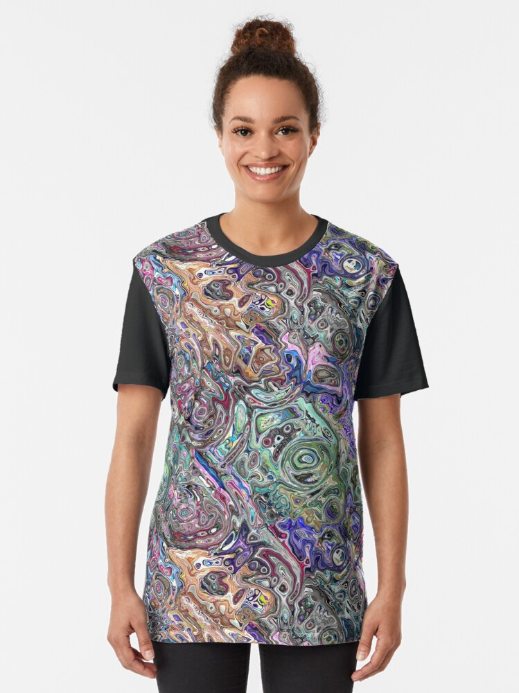 Alternate view of Abstract Melted Colors Graphic T-Shirt