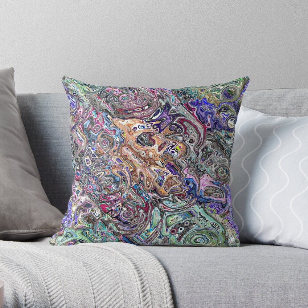 Abstract Melted Colors Throw Pillow
