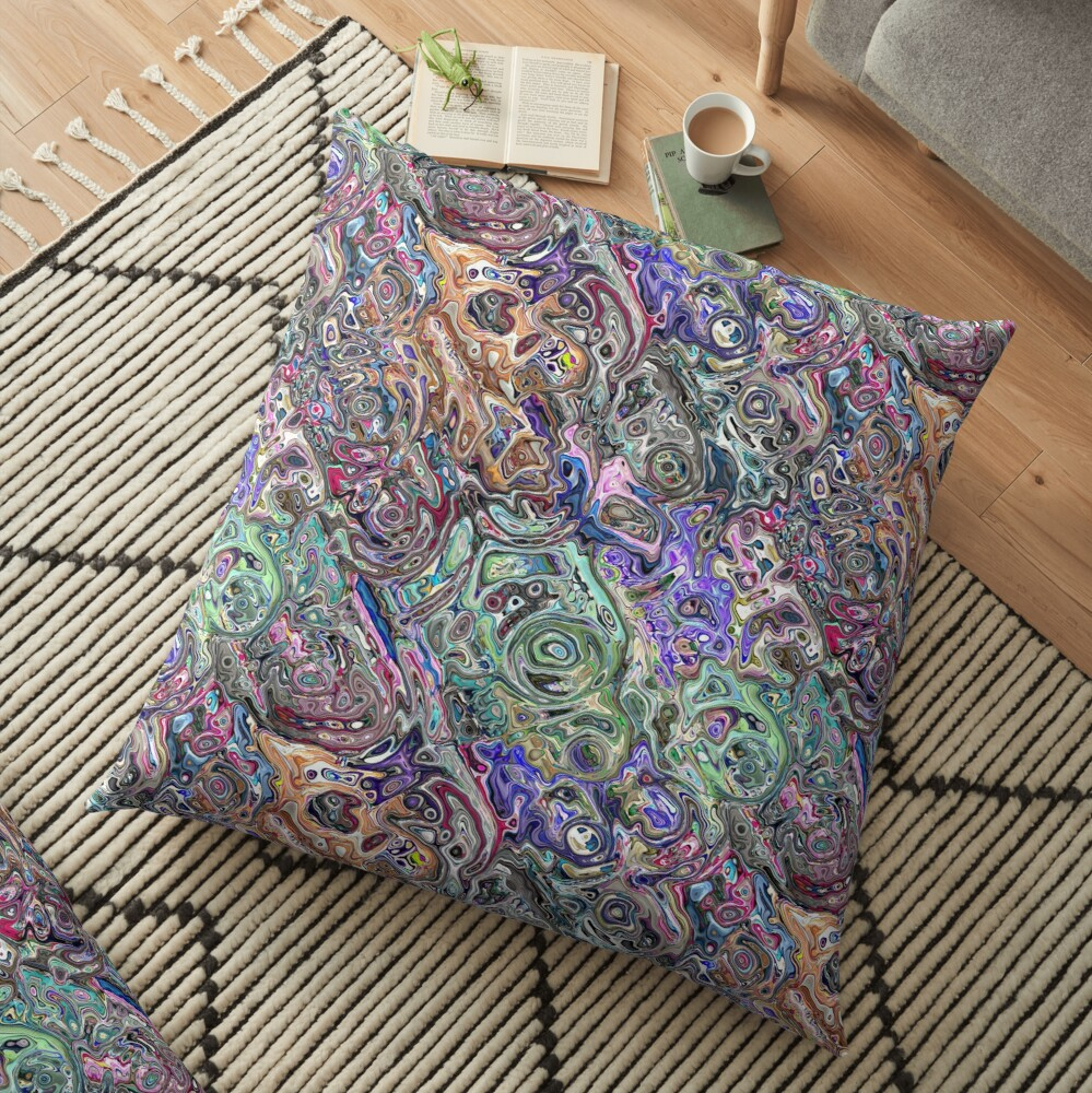 Abstract Melted Colors Floor Pillow