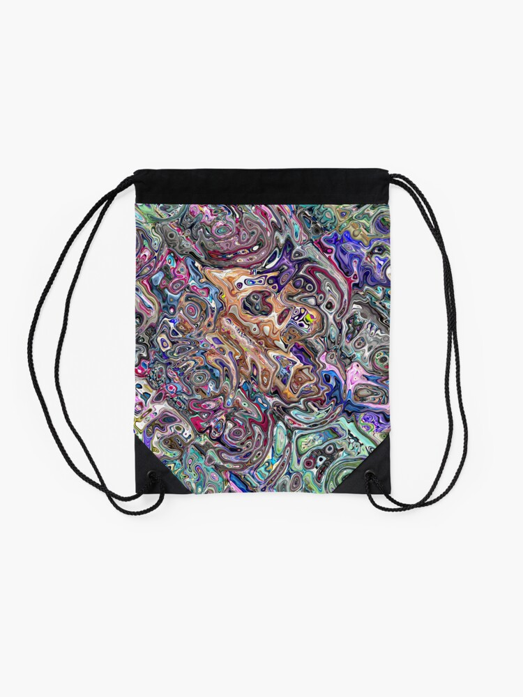Alternate view of Abstract Melted Colors Drawstring Bag