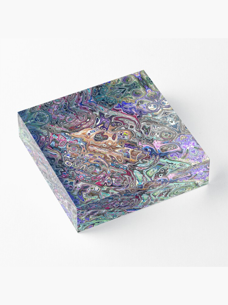 Alternate view of Abstract Melted Colors Acrylic Block