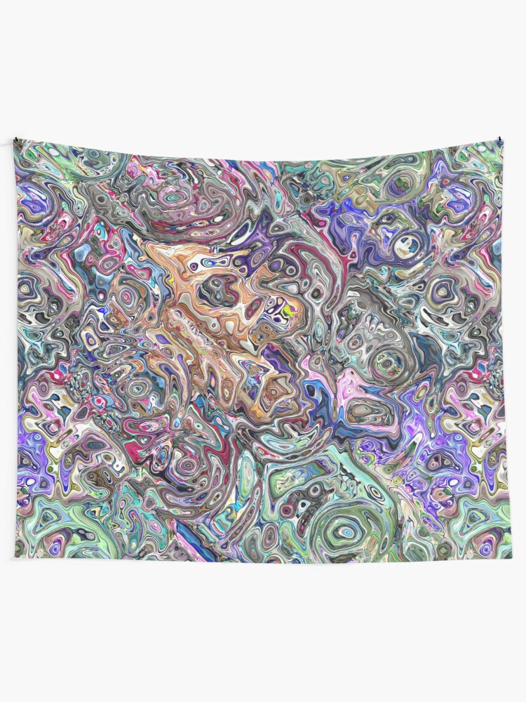 Alternate view of Abstract Melted Colors Tapestry