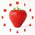 One Red Strawberry Fat Red Numbers Wall Clock by Alan Harman
