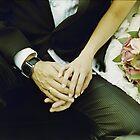 Wedding couple bride groom holding hands analogue film photography by edwardolive