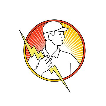 Electrician Holding Lightning Bolt Circle Monoline by patrimonio