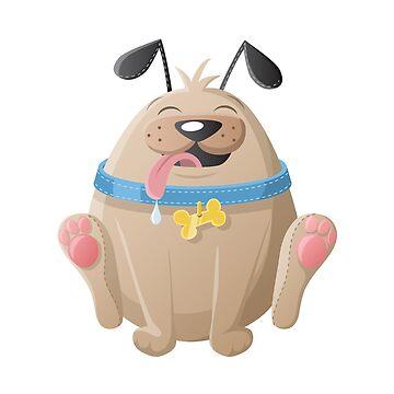 Fat, round cartoon dog by creaschon