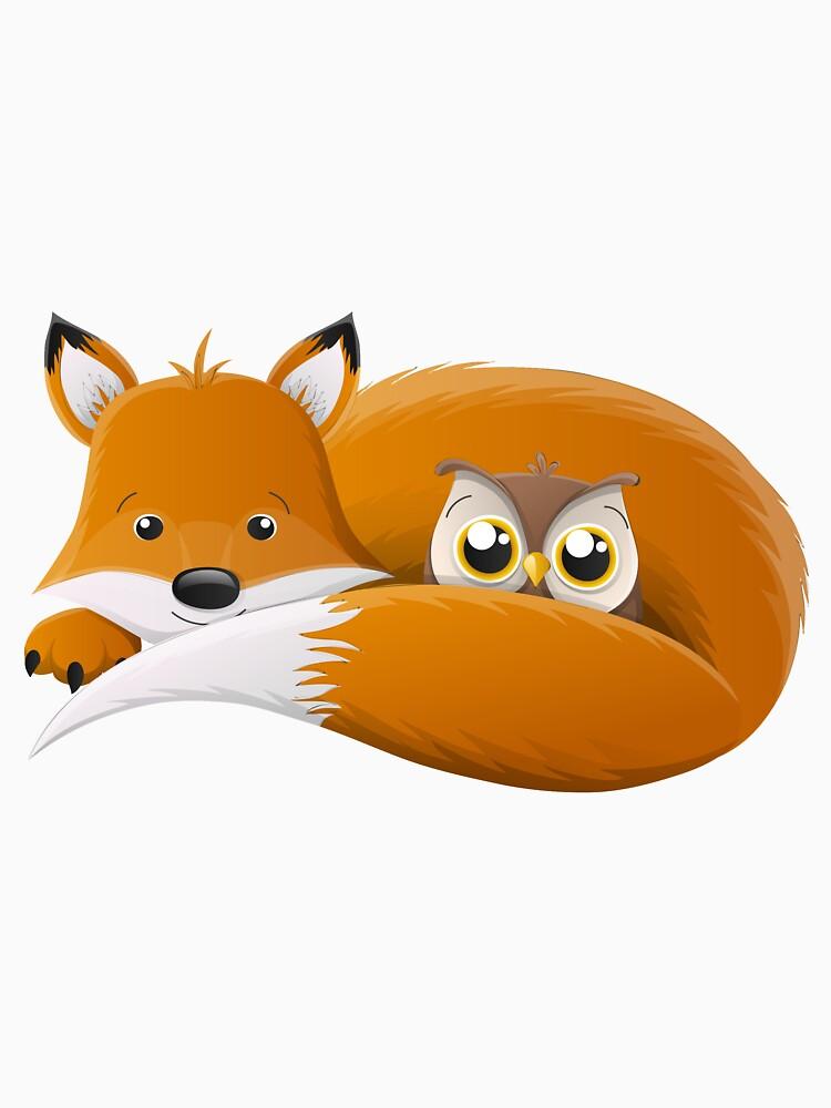 Cartoon fox with owl for children by creaschon