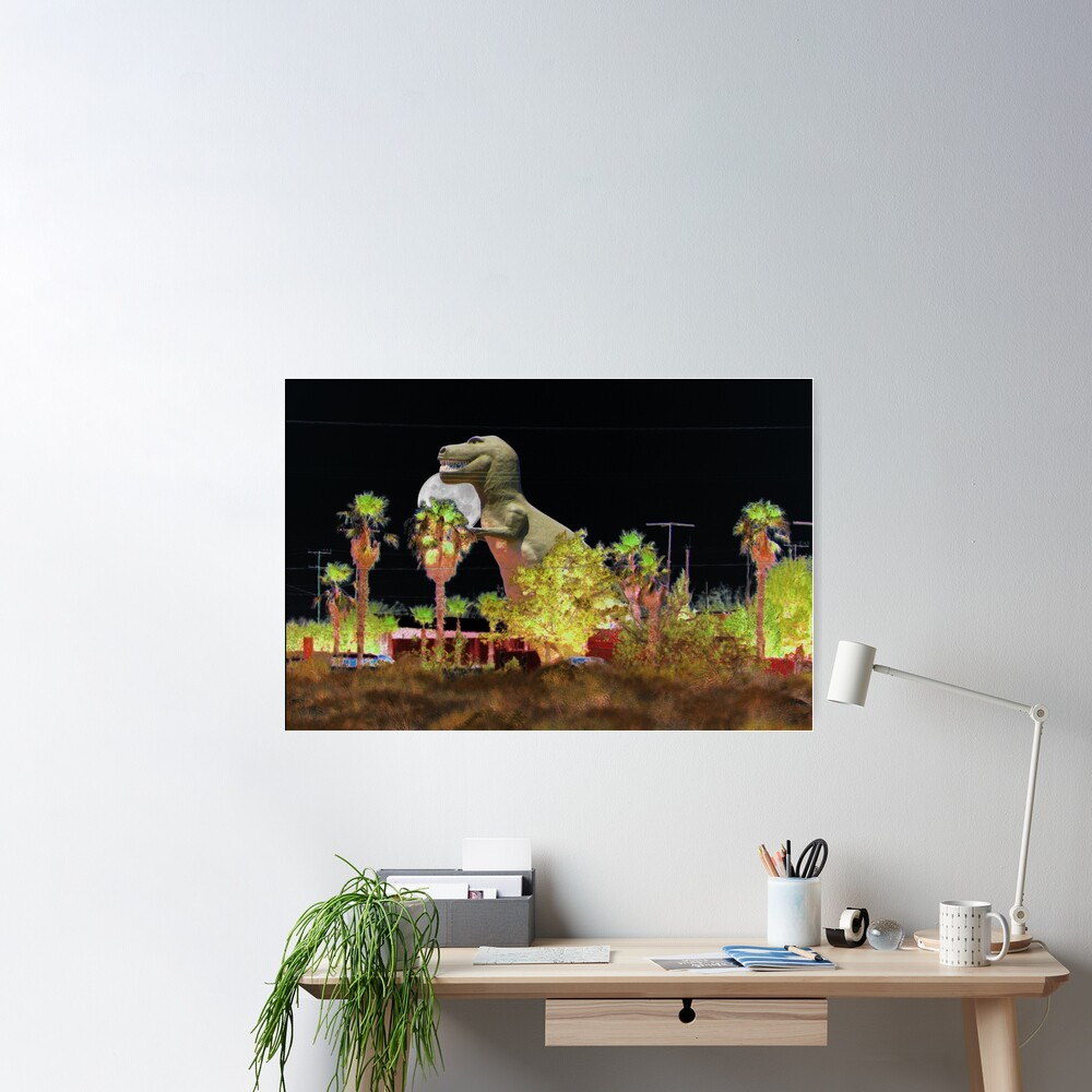 T-Rex In The Desert Night Poster