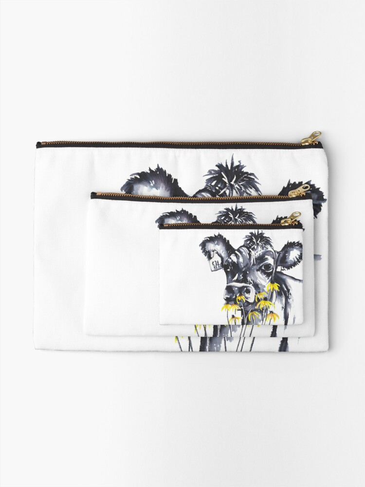 Alternate view of No worries - cow painting Zipper Pouch