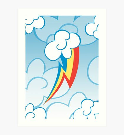 Rainbow Dash among the clouds Art Print