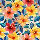 Colorful Watercolor Hibiscus on Warm Beige by micklyn