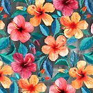 Colorful Watercolor Hibiscus on Dark Charcoal by micklyn