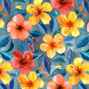 Colorful Watercolor Hibiscus on Grey Blue by micklyn