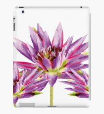 Three Lotos Flowers in purple white Background iPad Case/Skin