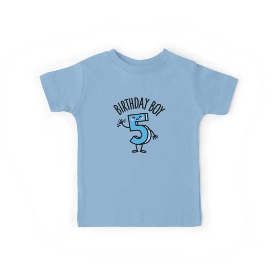 97e99b992 Camisetas para niños «Chico divertido cinco años cumpleaños número 5 ...