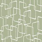 Soft Beryl Green Retro Geometric Shapes Pattern by itsjensworld