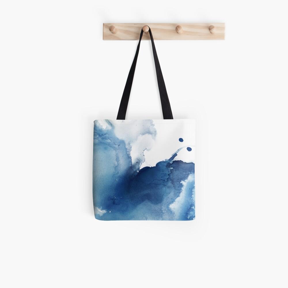 Indigo Blue Sea, Abstract Ink Painting Tote Bag