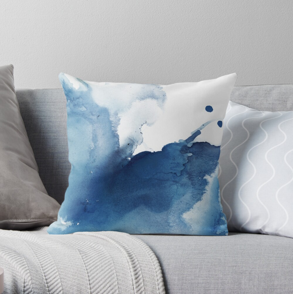 Indigo Blue Sea, Abstract Ink Painting Throw Pillow