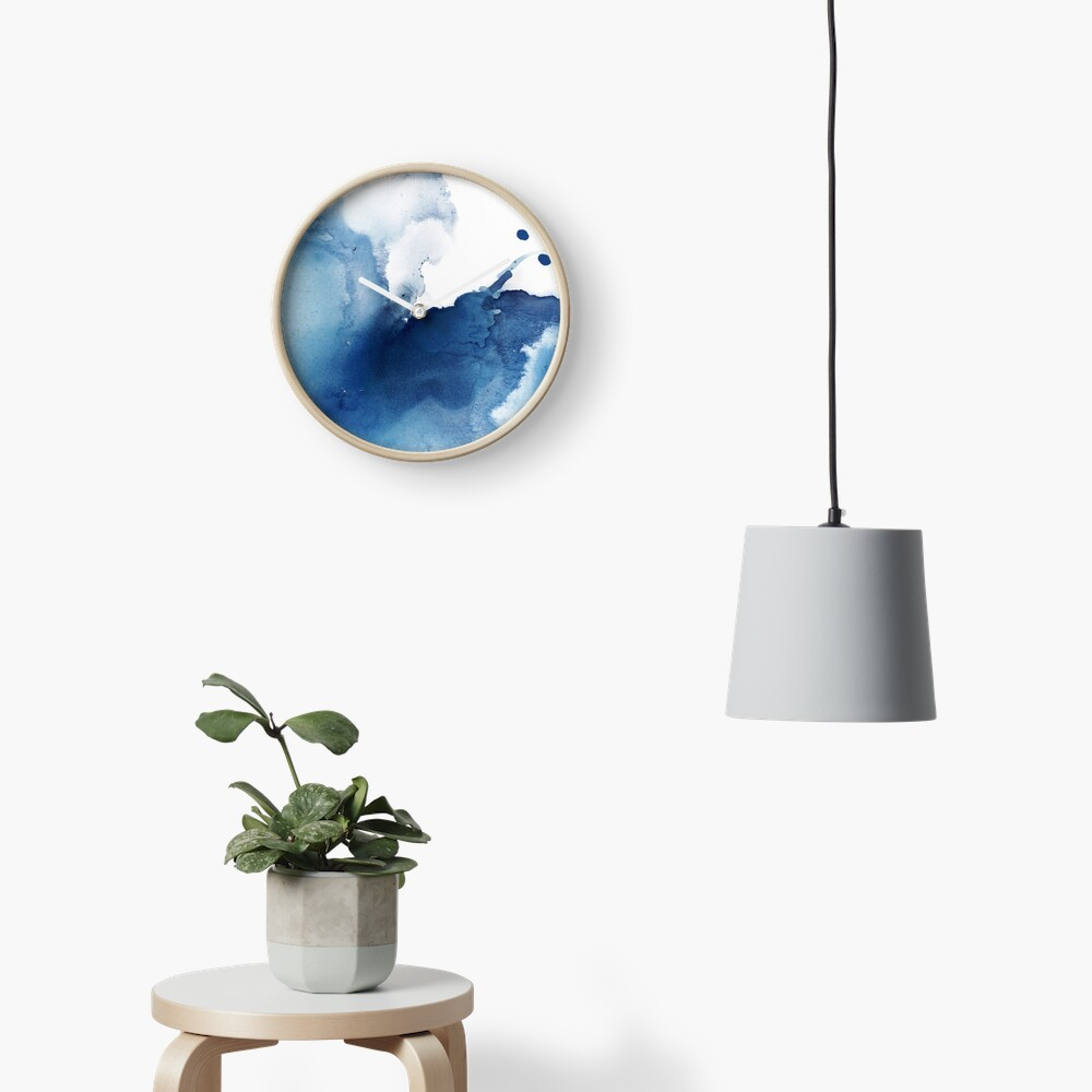 Indigo Blue Sea, Abstract Ink Painting Clock