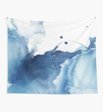 Indigo Blue Sea, Abstract Ink Painting Wall Tapestry