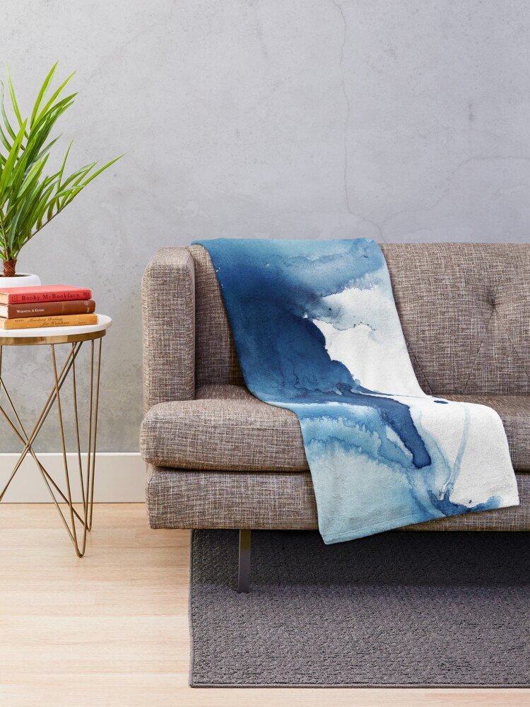 Alternate view of Indigo Blue Sea, Abstract Ink Painting Throw Blanket