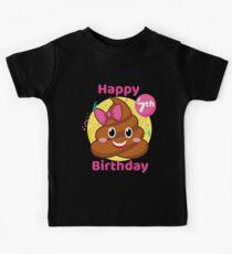 7th Birthday Girl - Pink Bow Poop Emoji Kids Tee