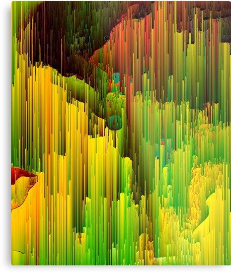 Organic Geometry - Glitch Abstract Pixel Art by Jennifer Walsh