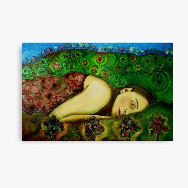Girl in a Hundertwasser Landscape Canvas Print