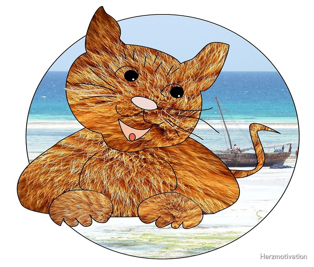 Katze am Meer von Herzmotivation