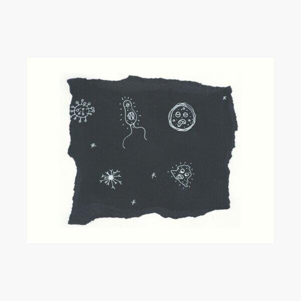 Black and White Microbes Art Print