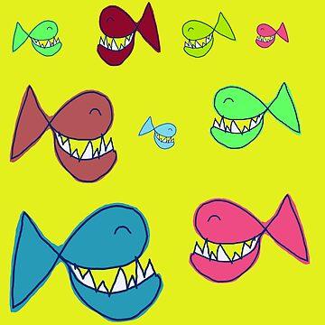 SMILING FISH - HERD OF FISH by NYWA-ART