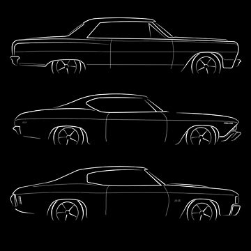 Evolution of the Chevelle - profile stencil, white by mal-photography